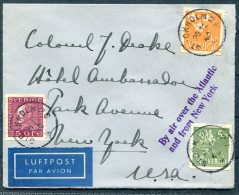Sweden Stockholm - Hotel Ambassador, Park Avue, New York Airmail Cover 'By Air Over The Atlantic And From New York' - Sweden