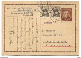 SLOVAKIA - Bratislava, Postal Stationery To Croatia, 1942. Used, Censure - Used Stamps