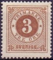 ZWEDEN 1886-91 3öre Bruin Ringtype Met Posthoorn Op De Achterzijde PF-MNH. - Neufs