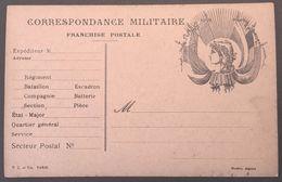 Carte De Franchise Militaire Carton Beige Rosé Illustration Marianne - Postmark Collection (Covers)