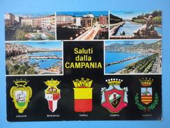 Saluti Dalla Campania - Vedute Avellino Benevento Caserta Napoli Salerno Con Relativi Stemmi - Annullo Angellara - Sin Clasificación