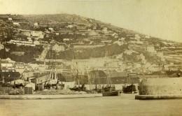 France Sete Port Panorama Voiliers Bateaux Ancienne Photo CDV 1870 - Photographs