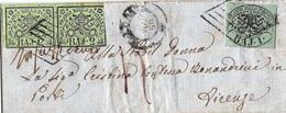 Lettera Da MACERATA 22 NOV. 58 Per Firenze Con BAJ.1+BAJ.2 IN COPPIA Michel-No.2+3 INSUFFICIENTE - Papal States