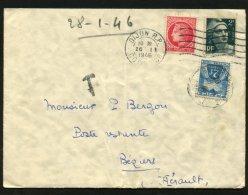 COTE D'OR : Enveloppe Avec 2F GANDON + 1F MAZELIN Oblt Flamme De DIJONTaxée Avec 2F Gerbes (Chiffre) Oblt A4 BEZIER - Postmark Collection (Covers)