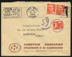 RHONE: Enveloppe Affrie 12F Gandon X2 Taxée Avec 10F   Gerbes (timbre) Oblt  T A6 De SAINT FONS - Postmark Collection (Covers)