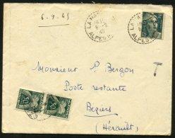 ALPES MARITIMES: Enveloppe Affrie 2F Gandon Oblt Type B4 Taxée Avec 50c Gerbes (Chiffre) Oblt  T A4 De BEZIERS - Postmark Collection (Covers)