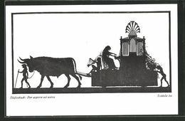 CPA Illustrateur Diefenbach: Per Aspera Ad Astra, Teilbild 30, Ochsengespann Avec Orgue, Silhouetten - Diefenbach