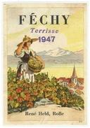 Rare // Etiquette // Féchy 1947 Terrisse, René Held, Rolle, Vaud // Suisse - Etiquettes
