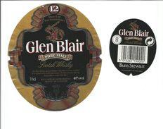 """Etiquette De WHISKY """" GLEN BLAIR 12 ANS - Pure Malt ECOSSE """" - Whisky"""