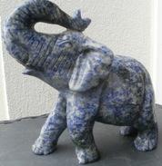 Statue éléphant En Pierre Mouchetée, Bleue Et Grise - Sculptures