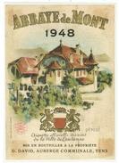 Rare // Etiquette // Abbaye De Mont 1948, Vins De La Ville De Lausanne G.David Auberge De Yens,Vaud  // Suisse - Etiquettes