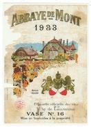 Rare // Etiquette // Abbaye De Mont 1933, Ville De Lausanne, Vaud  // Suisse - Etiquettes