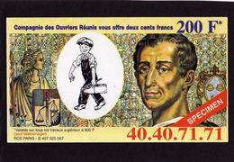200 Fr SPECIMEN - Compagnie Des Ouvriers Réunis - Format 8X14 Cm - - Fictifs & Spécimens