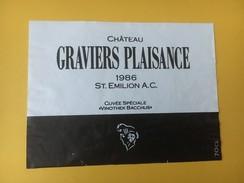 """5243 -  Château Graviers Plaisance 1986 Saint-Emilion Cuvée Spéciale """"Vinothek Bacchus"""" - Bordeaux"""