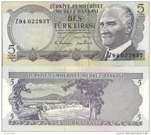 Turkey P185, 5 Lirasi, Rapids, Mountains, 1970 - Turkey