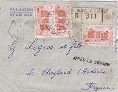 Dahomey Benin 1951 Bopa Hexagonal Perlé AOF Mosque Registered Cover Apres Le Depart Handstamp - Benin – Dahomey (1960-...)