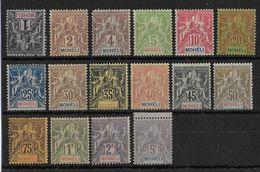 MOHELI - YVERT N° 1/16 **/* CHARNIERE LEGERE (16 EST ** MNH) - COTE = 680 EUROS - Moheli (1906-1912)