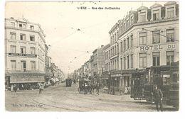 Liège - Rue Des Guillemins - Très Animée - Attelages - Tram / Tramway - Hotel De L'univers - éd. Pacquay Liège - Luik