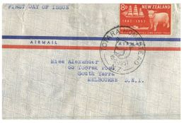 (218) New Zealand Cover Posted To Australia - 1957 - Air Mail Letter - Sheep And Ship - Nouvelle-Zélande