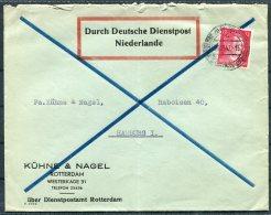 1942 Netherlands Rotterdam, Kuhne & Nagel Cover, 'DURCH DEUTSCHE DIENSTPOST NIEDERLANDE' DDP - Hamburg - Period 1891-1948 (Wilhelmina)