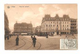 Liège - Place St. Lambert - Tram / Tramway - Animée - 1910 - Sépia - Timbre à La Face - Liege
