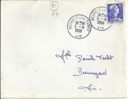 01.AIN.NEUVILLE LES DAMES   TàD De TYPE A7 De 1958 - Marcophilie (Lettres)