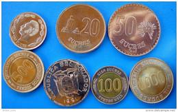 EQUADOR SERIE 7 MONETE CON 3 BIMETALLICHE 1000-500-100-50-20-10-1 SUCRES FDC - Ecuador