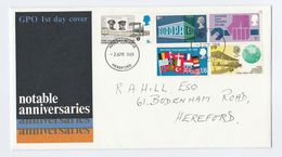 1969 Hereford GB FDC Stamps EUROPA FLAG AIRCRAFT ILO Cover Anniversaries Aviation Un United Nations Flight - FDC