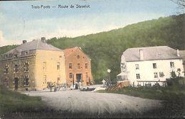 Trois-Ponts - Route De Stavelot (animée, Colorisée, Photot Desaix, 1908) - Trois-Ponts