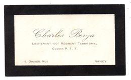 Carte De Visite 100 ème Régiment Territorial Vaguemestre  Lieutenant Berga Nancy - Collections