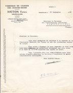 Hatton , Scierie ,fabrique De Caisses à Grandvillers , Vosges ,courrier De 1958 - 1950 - ...