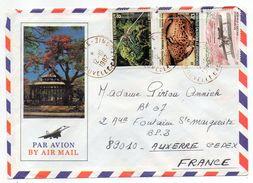 Nlle Calédonie--1982--Lettre De YATE Pour Auxerre-89-Composition De Tps (coquillage,avion) Sur Env Illustrée Recto-verso - Briefe U. Dokumente