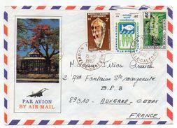 Nlle Calédonie--1982-Lettre De YATE Pour Auxerre-89-Composition De Tps (coquillage,fleur) Sur Env Illustrée Recto-verso - Briefe U. Dokumente