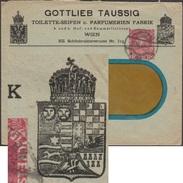 Autriche 1917. Entier Timbré Sur Commande. Gottlieb Taussig, Savons De Toilettes Et Fabrication De Parfums. Blasons - Enveloppes