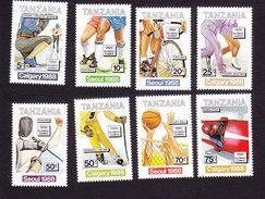 Tanzania, Scott #414-421, Mint Hinged, 1988 Olympics, Issued 1988 - Tanzanie (1964-...)