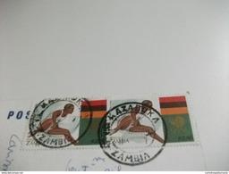 STORIA POSTALE FRANCOBOLLO COMMEMORATIVO Corsa A Ostacoli ZAMBIA CLOSE UP OF THE MAIN FALLS VICTORIA FALLS  ZIMBABWE - Zambia