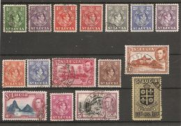 ST LUCIA 1938 - 1948 SET TO 10s SG 128a/138 FINE USED Minimum Cat £30+ - St.Lucia (...-1978)