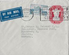 INDIAN → Letter From Trivandrum To Nürnberg US-Zone Germany 1953 - Enveloppes