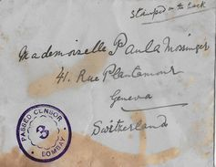 INDIAN → Letter From Bombay To Geneva Switzerland Ca.1915  ►Passed Censor◄ - Inde