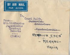 INDIA → Par Avion  Letter From Benares To Merano Italia 1947 - Inde