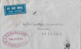 INDIA → P.C. Kundu & Sons Calcutta Air Mail Letter To Sweeden 1936 - Inde