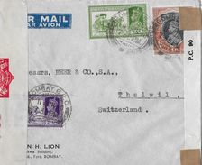 INDIA POSTAGE → Air Mail Letter From Bombay To Thalwil Switzerland 1940 ►Censor◄ - Inde