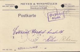 """INFLA  DR """"Gebühr Bezahlt"""" Violett Im Rechteck Auf PK Der Fa. Meyer & Windmüller Mit Stempel: Essen 4.10.1923 - Deutschland"""