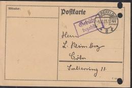 """INFLA  DR """"Gebühr Bezahlt"""" Im Violetten Rechteck (2-Z M R, 94/12) Auf PK Mit Stempel: Crefeld 2 9.10.1923 Letzttag - Deutschland"""