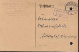 """INFLA  DR """"Gebühr Bezahlt"""" Im Violetten Rechteck (2-Z M R, 94/2) Auf PK Der Amtssparkasse Mit Stempel: Bassum 15.9.23 - Deutschland"""