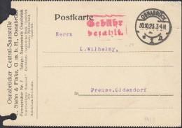 """INFLA  DR """"Gebühr Bezahlt"""" Im Rechteck (2-Z M R, 94/3) Auf PK Der Fa. L. Stahn & Finke Mit St: Osnabrück 30.10.1923 - Infla"""