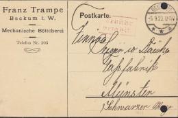 """INFLA  DR """"Gebühr Bezahlt"""" Im Rechteck (2-Z M R, 94/8) Auf PK Der Fa. Franz Trampe Mit St: Beckum 5.9.1923 - Infla"""
