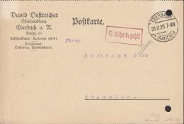 """INFLA  DR """"Gebühr Bezahlt"""" Im Rechteck (1-Z M R, 87/neue Type) Auf PK Der Fa.David Östreicher Mit St: Eberbach 28.8.1923 - Deutschland"""
