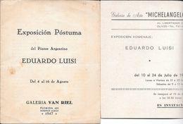 FOLLETOS DE EXPOSICIONES DEL PINTOR ARGENTINO EDUARDO LUISI DE 1947 Y 1970 ORIGINALES RARES PEINTURE PAINTINGS - Programs