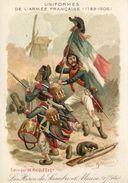 UNIFORMES DE L'ARMEE FRANCAISE - 1794 (Au Verso Pub : Alcool De Menthe De RICQLES) - Chromos